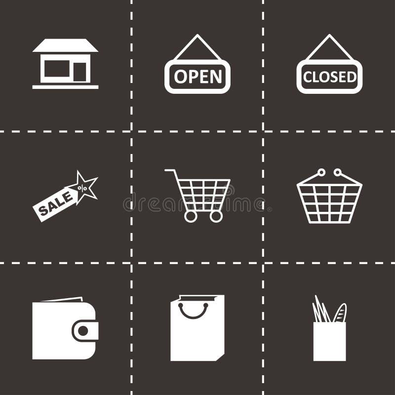 Icone del negozio del nero di vettore messe royalty illustrazione gratis