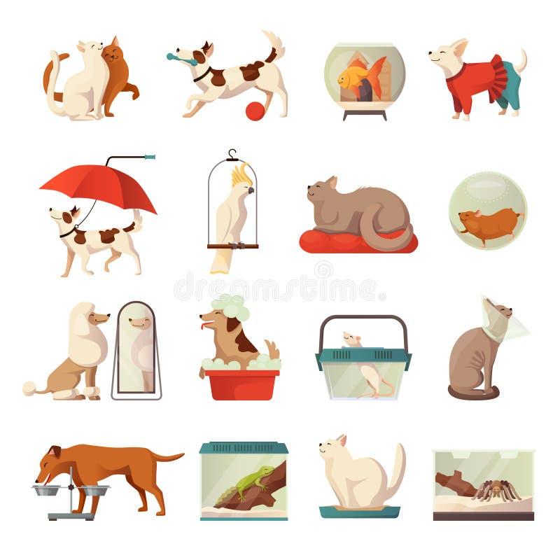 Icone del negozio di animali messe illustrazione di stock