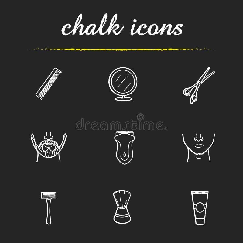 Icone del negozio di barbiere impostate royalty illustrazione gratis