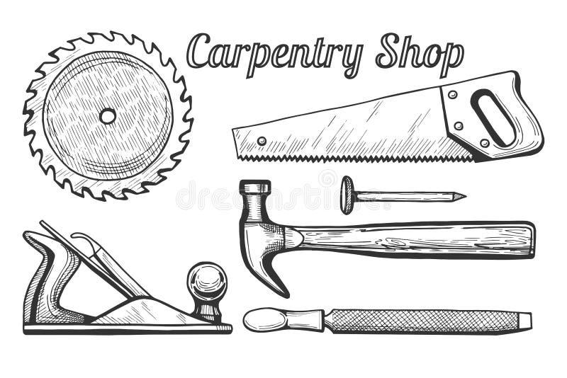 Icone del negozio di carpenteria illustrazione di stock