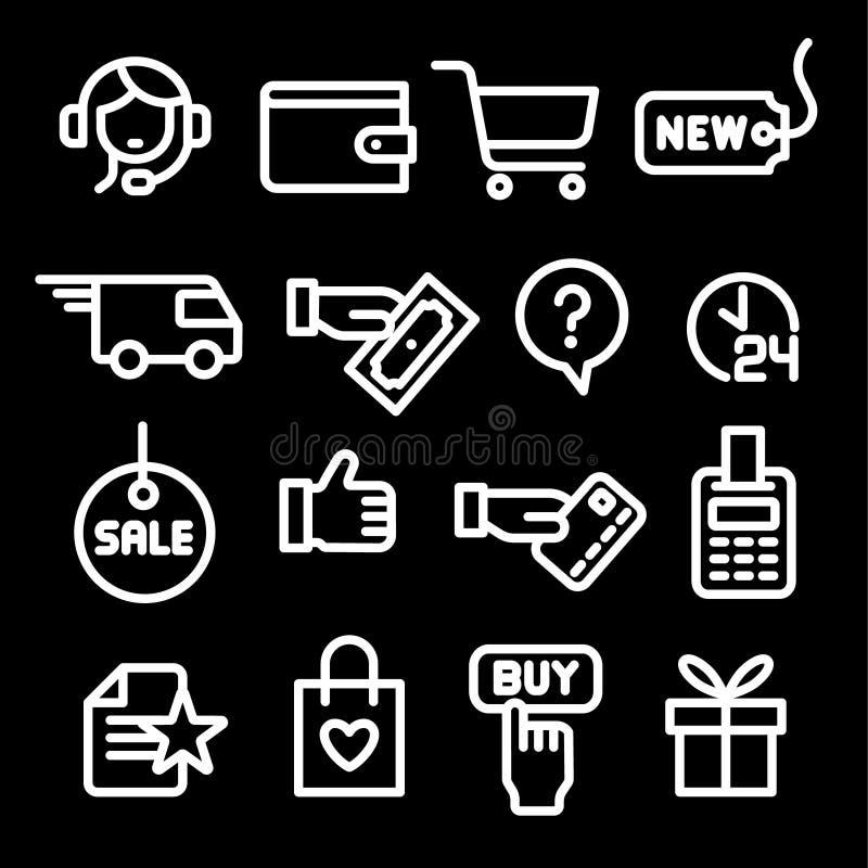 Icone del negozio di commercio elettronico illustrazione di stock