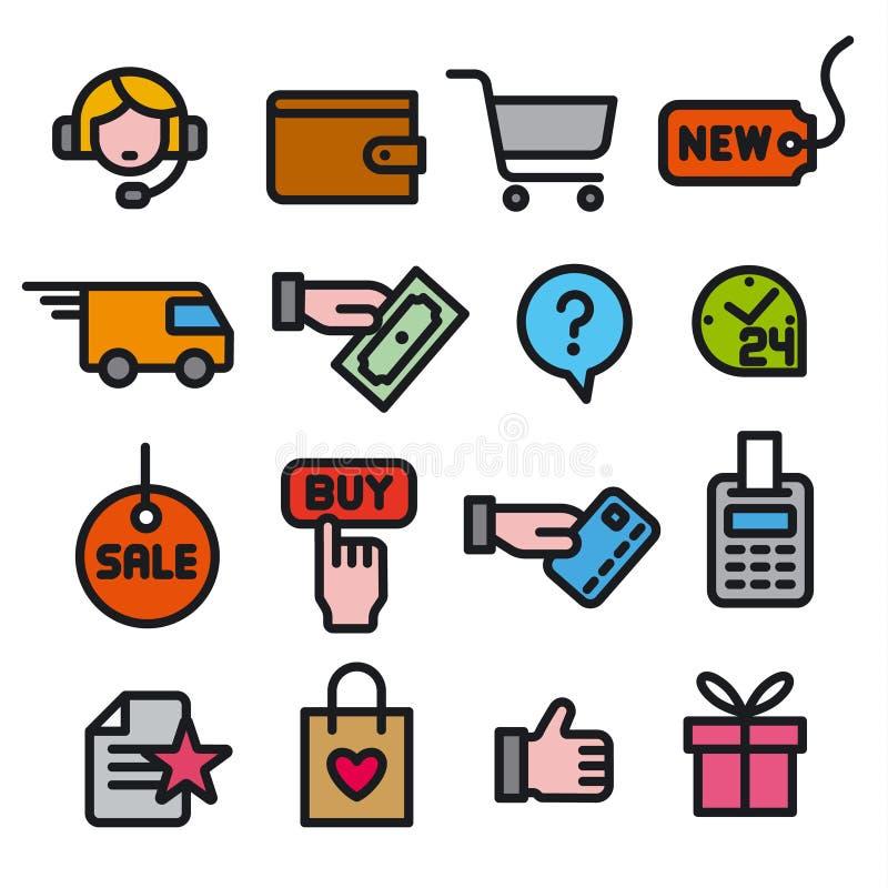 Icone del negozio di commercio elettronico royalty illustrazione gratis