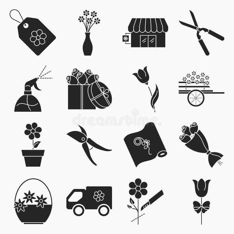 Icone del negozio di fiore illustrazione di stock
