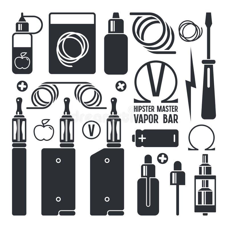 Icone del negozio e della e-sigaretta di Vape illustrazione di stock