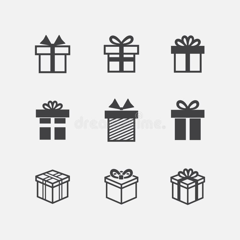 Icone del nero del contenitore di regalo di vettore illustrazione di stock