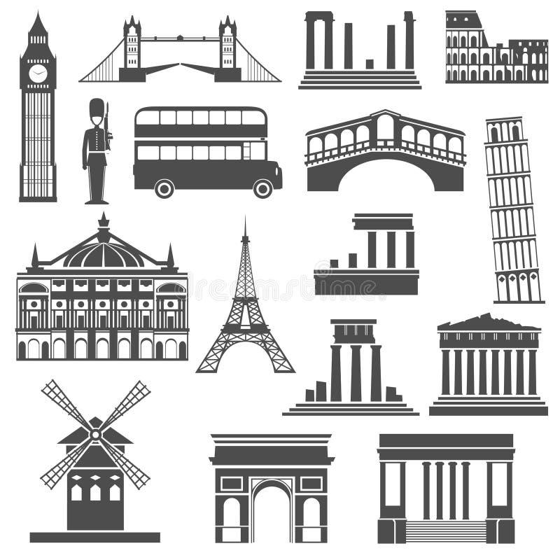 Icone del nero del punto di riferimento di viaggio messe illustrazione di stock