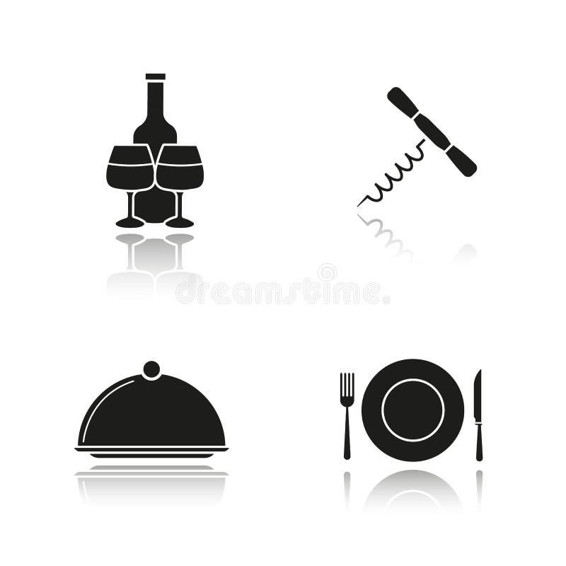 Icone del nero dell'ombra di goccia degli elementi del ristorante messe royalty illustrazione gratis