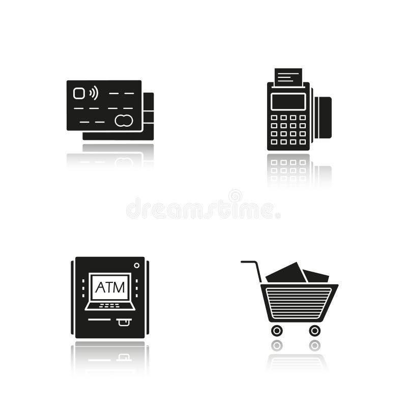 Icone del nero dell'ombra di goccia di acquisto del supermercato messe illustrazione di stock