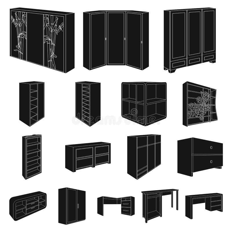 Icone del nero della mobilia della camera da letto nella raccolta dell'insieme per progettazione Web isometrico delle azione di s illustrazione vettoriale