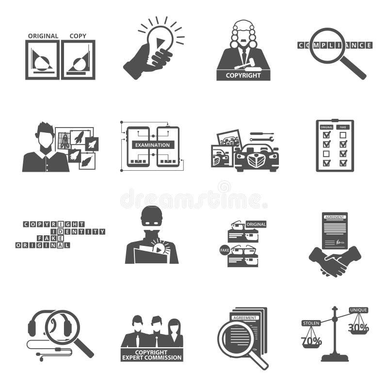 Icone del nero di legge sui diritti di autore di conformità messe illustrazione di stock