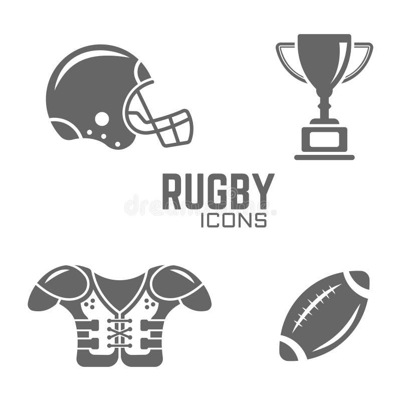 Icone del nero di vettore di rugby o di football americano illustrazione vettoriale