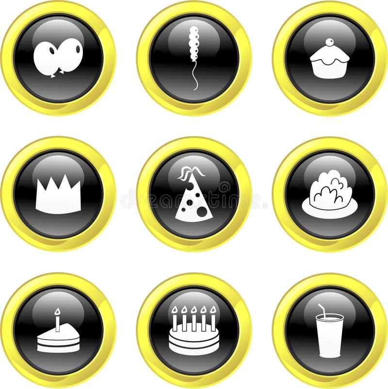 Icone del partito illustrazione di stock