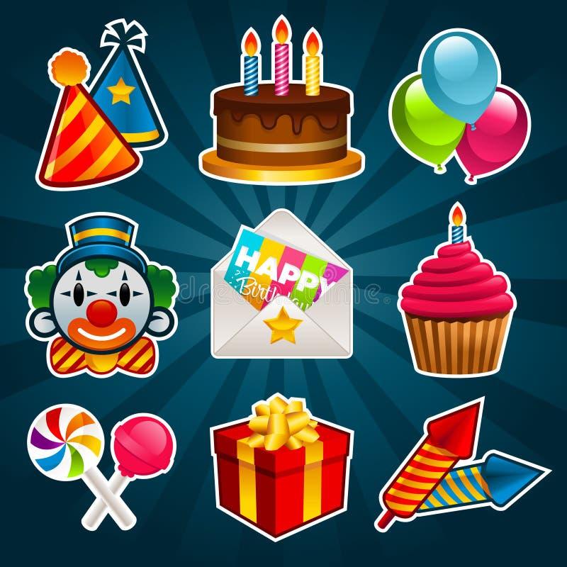 Icone del partito di buon compleanno illustrazione di stock