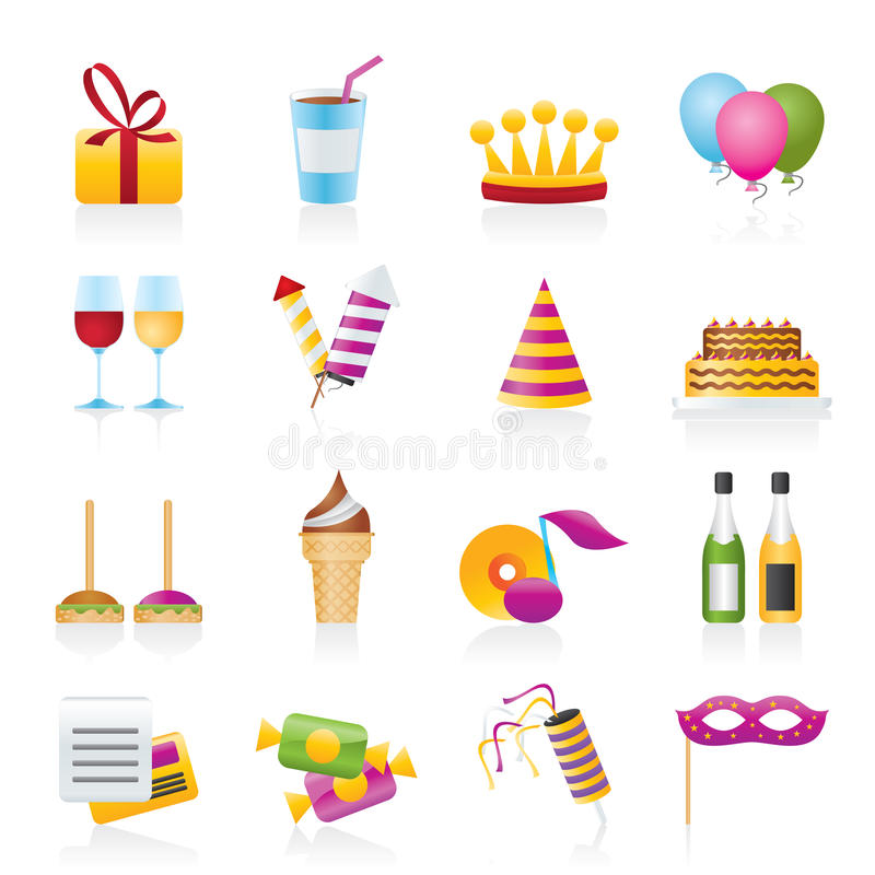 Icone del partito e di compleanno illustrazione di stock
