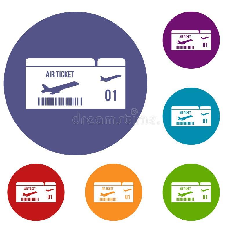 Icone del passaggio di imbarco di linea aerea messe illustrazione di stock