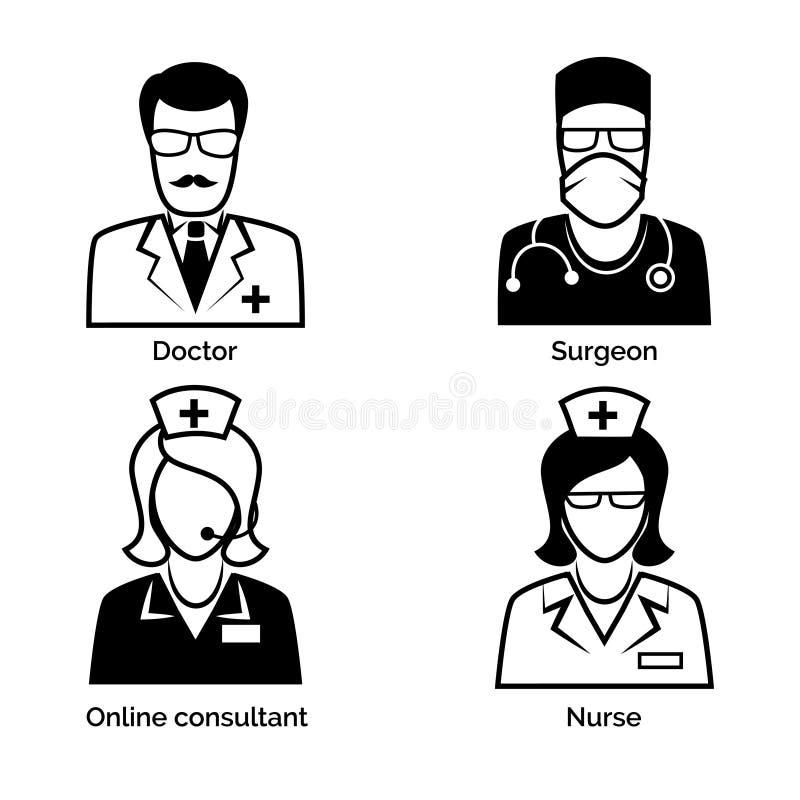 Icone del personale medico Medico, infermiere, chirurgo e illustrazione vettoriale