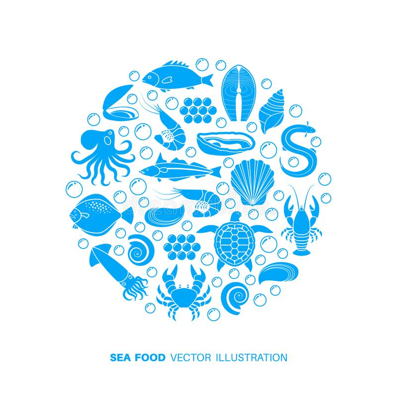 Icone del pesce e dei frutti di mare illustrazione di stock