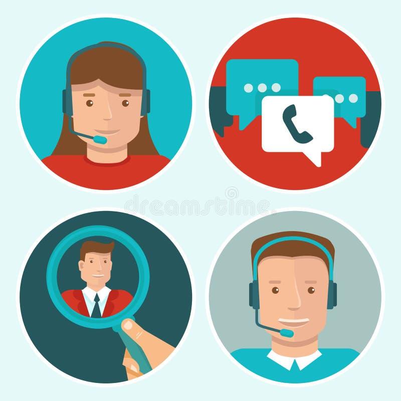 Icone del piano di servizio del cliente di vettore illustrazione di stock