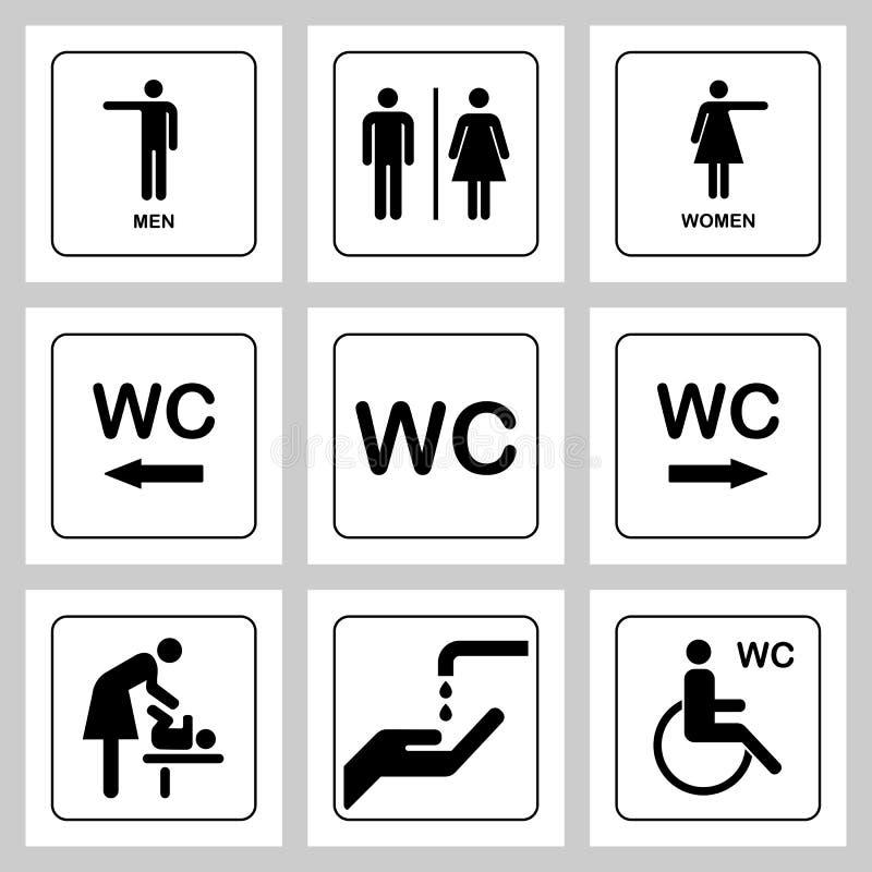 Icone del piatto della porta toilette/del WC messe Segno del WC delle donne e degli uomini per la toilette illustrazione vettoriale