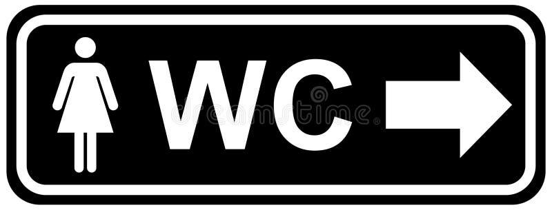 Icone del piatto della porta della toilette del Wc Segno delle donne e degli uomini per la toilette colore bianco nero di vettore royalty illustrazione gratis