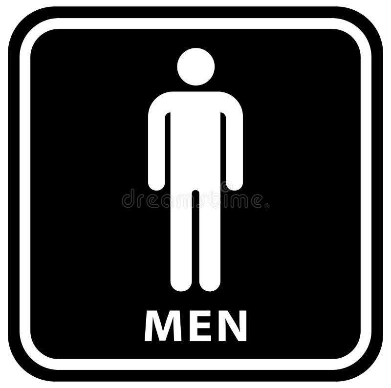 Icone del piatto della porta della toilette del Wc Segno delle donne e degli uomini per la toilette colore bianco nero di vettore illustrazione di stock