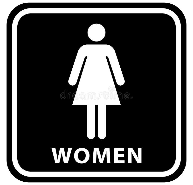Icone del piatto della porta della toilette del Wc Segno delle donne e degli uomini per la toilette colore bianco nero di vettore illustrazione vettoriale