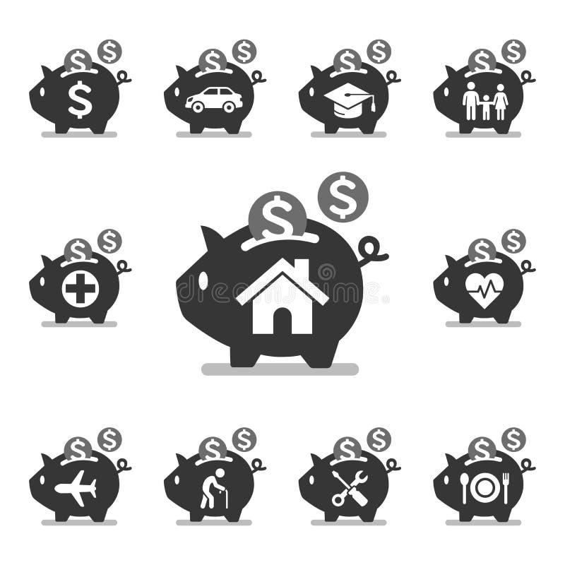 Icone del porcellino salvadanaio illustrazione vettoriale