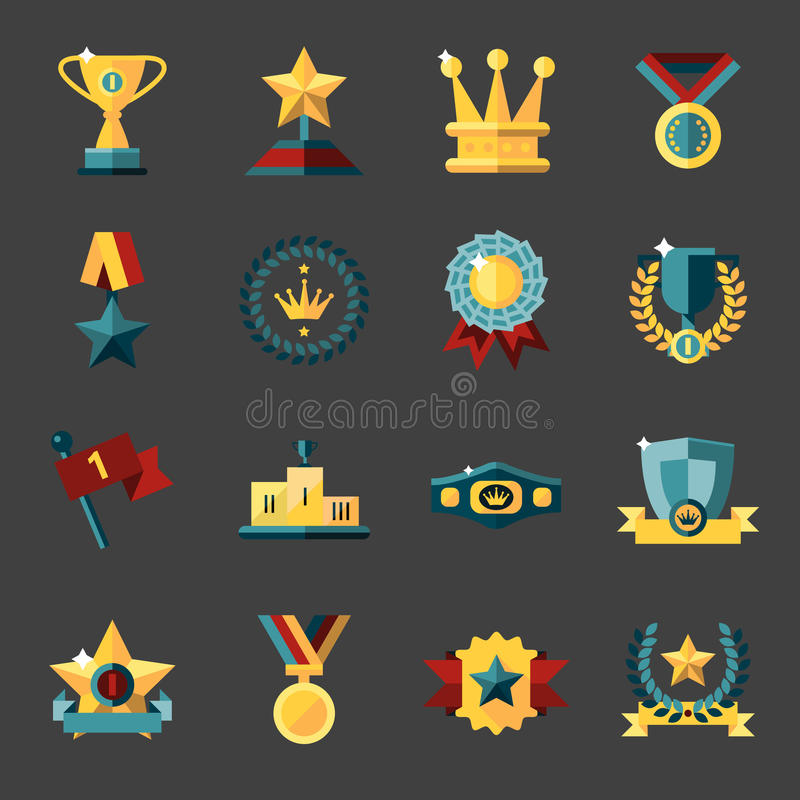 Icone del premio impostate illustrazione vettoriale