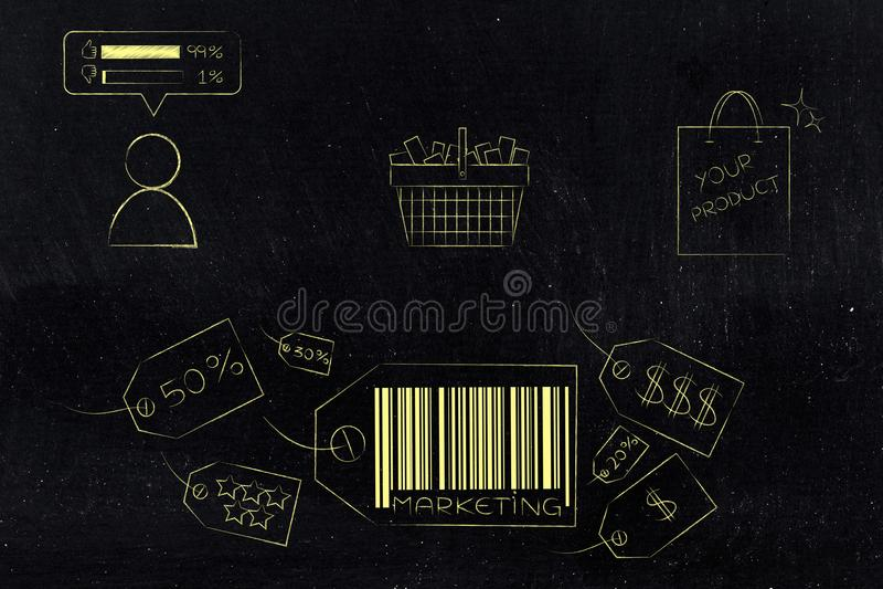 Icone del prezzo da pagare di vendita con il cestino della spesa ed il pungolo del cliente illustrazione di stock