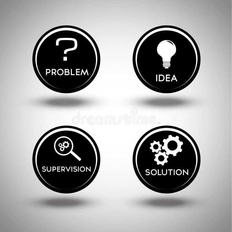Icone del processo di soluzione dei problemi illustrazione vettoriale