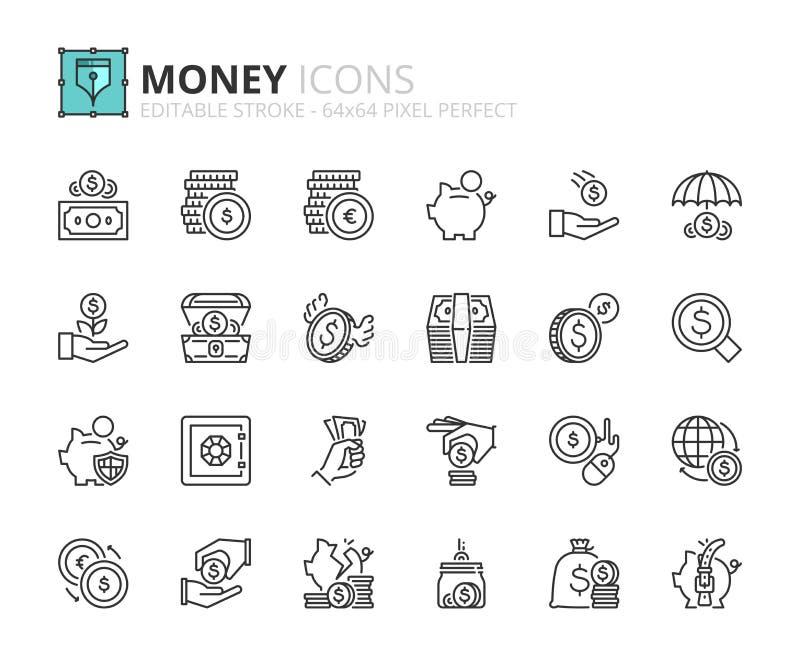 Icone del profilo circa soldi illustrazione vettoriale