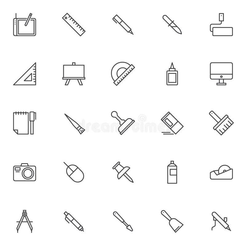 Icone del profilo degli elementi di progettazione messe illustrazione di stock