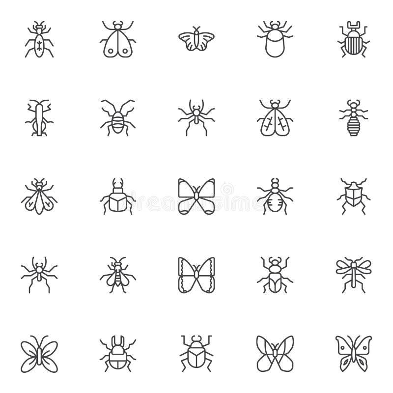 Icone del profilo degli insetti e degli insetti messe illustrazione vettoriale