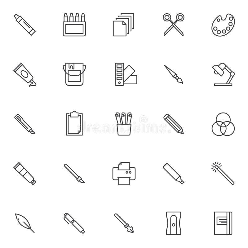 Icone del profilo degli strumenti di progettazione messe royalty illustrazione gratis