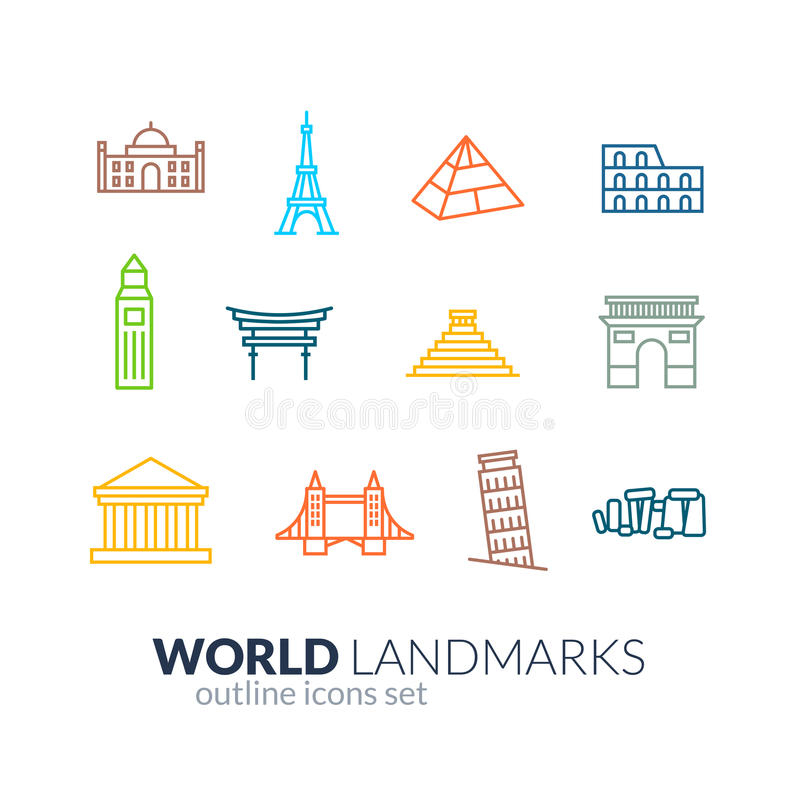 Icone del profilo dei punti di riferimento del mondo messe illustrazione di stock