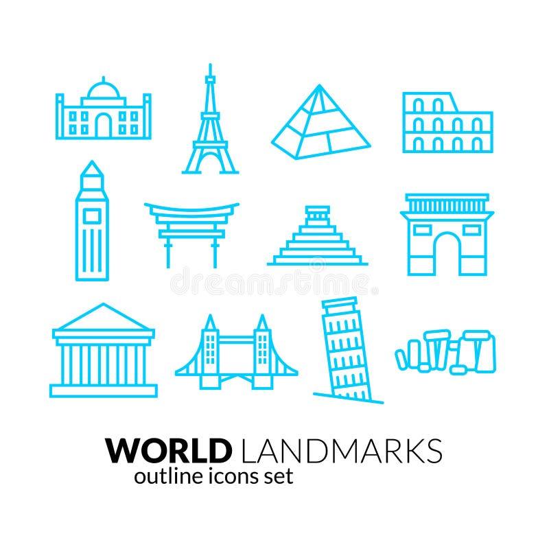 Icone del profilo dei punti di riferimento del mondo messe royalty illustrazione gratis