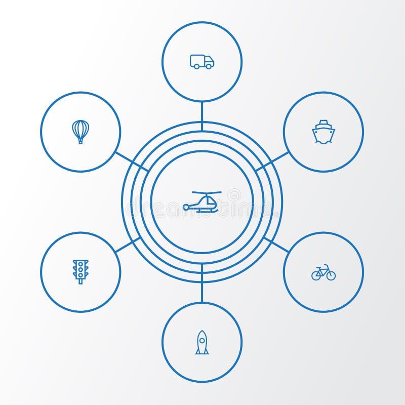 Icone del profilo del trasporto messe Raccolta del carrello ferroviario, di Rocket, dell'elicottero e di altri elementi Inoltre c royalty illustrazione gratis