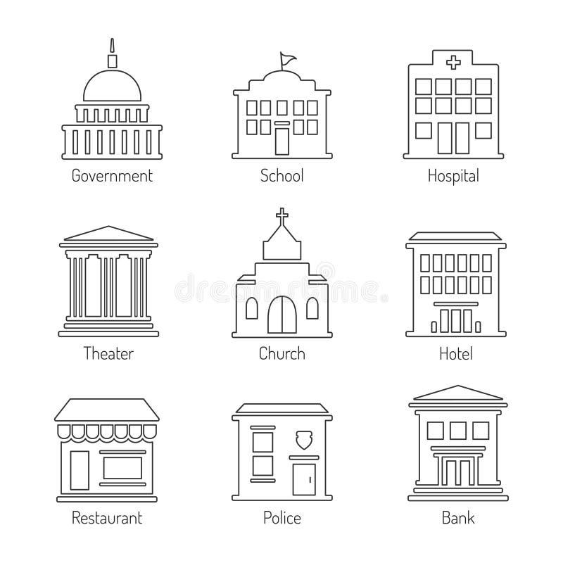 Icone del profilo della costruzione di governo messe illustrazione di stock