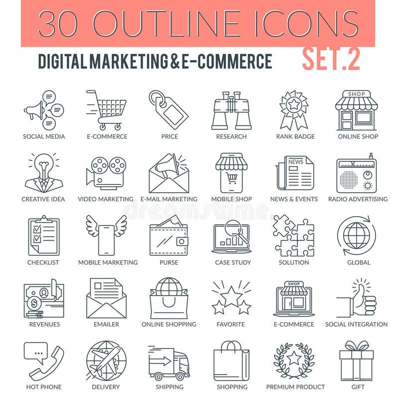Icone del profilo di vendita e di commercio elettronico di Digital illustrazione di stock
