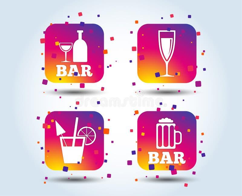 Icone del pub o di Antivari Vetro di birra e di champagne royalty illustrazione gratis