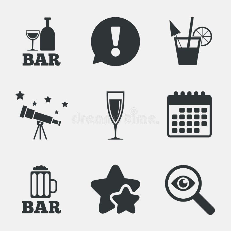 Icone del pub o di Antivari Vetro di birra e di champagne illustrazione vettoriale