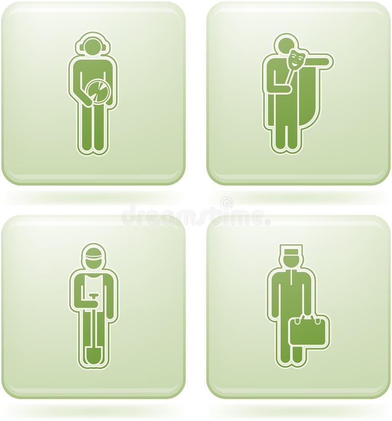 Icone del quadrato del Olivine 2D impostate: Occupazione royalty illustrazione gratis