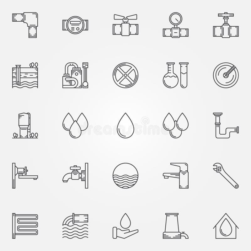 Icone del rifornimento idrico illustrazione vettoriale