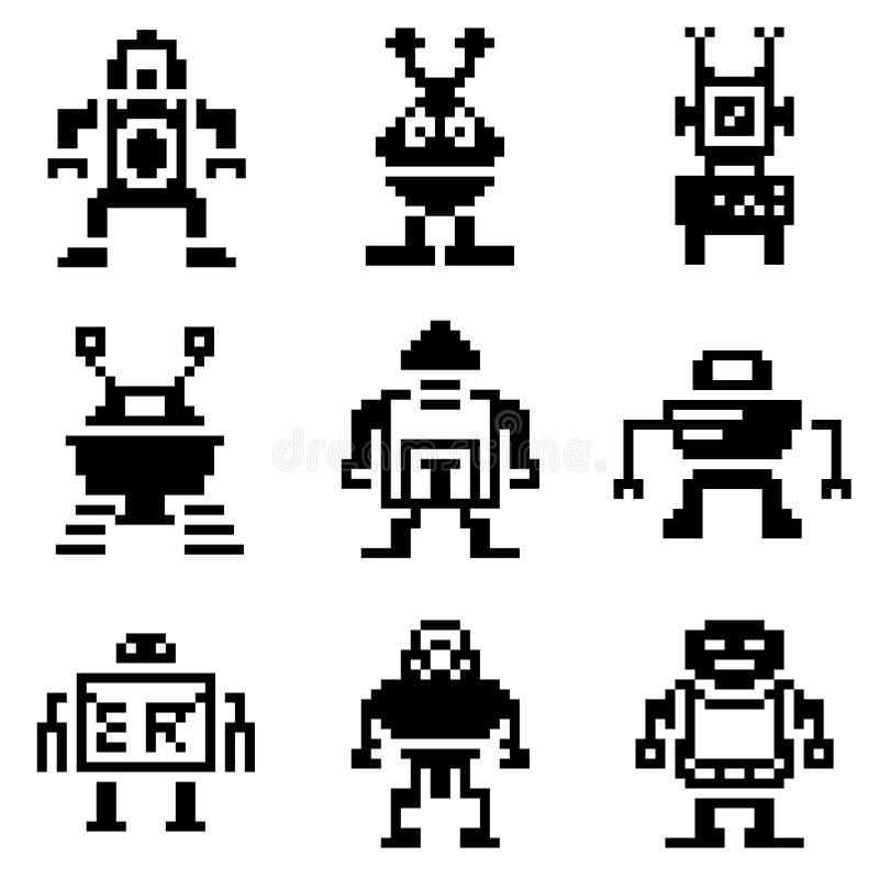icone del robot del pixel royalty illustrazione gratis