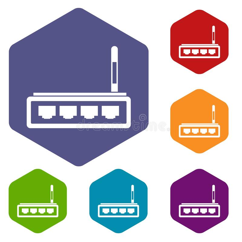 Download Icone del router messe illustrazione vettoriale. Illustrazione di accesso - 117978965