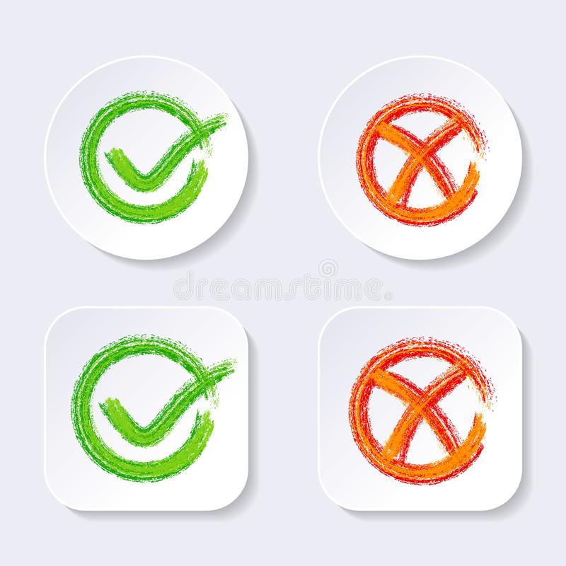 Icone del segno di spunta di vettore sui bottoni royalty illustrazione gratis