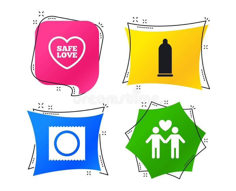 Icone del sesso sicuro del preservativo Segno gay delle coppie degli amanti Vettore royalty illustrazione gratis