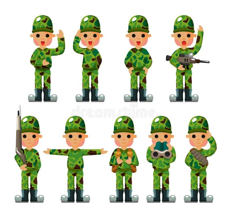 Icone del soldato del fumetto impostate illustrazione di stock