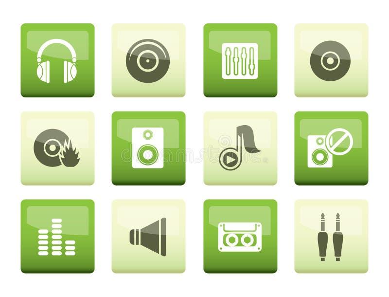 Icone del suono e di musica sopra fondo verde illustrazione vettoriale