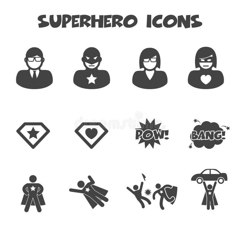 Icone del supereroe illustrazione vettoriale
